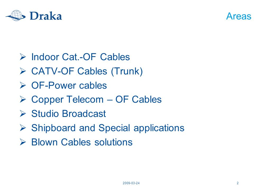 2009-03-242 Areas Indoor Cat.-OF Cables CATV-OF Cables (Trunk) OF-Power cables Copper Telecom – OF Cables Studio Broadcast Shipboard and Special appli