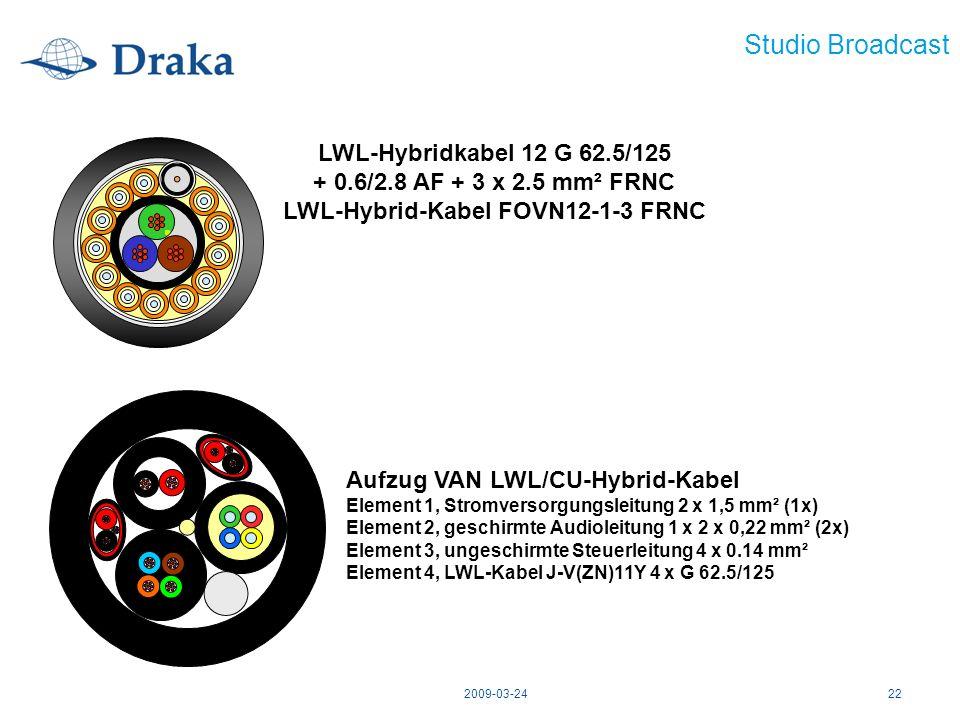 2009-03-2422 Studio Broadcast LWL-Hybridkabel 12 G 62.5/125 + 0.6/2.8 AF + 3 x 2.5 mm² FRNC LWL-Hybrid-Kabel FOVN12-1-3 FRNC Aufzug VAN LWL/CU-Hybrid-