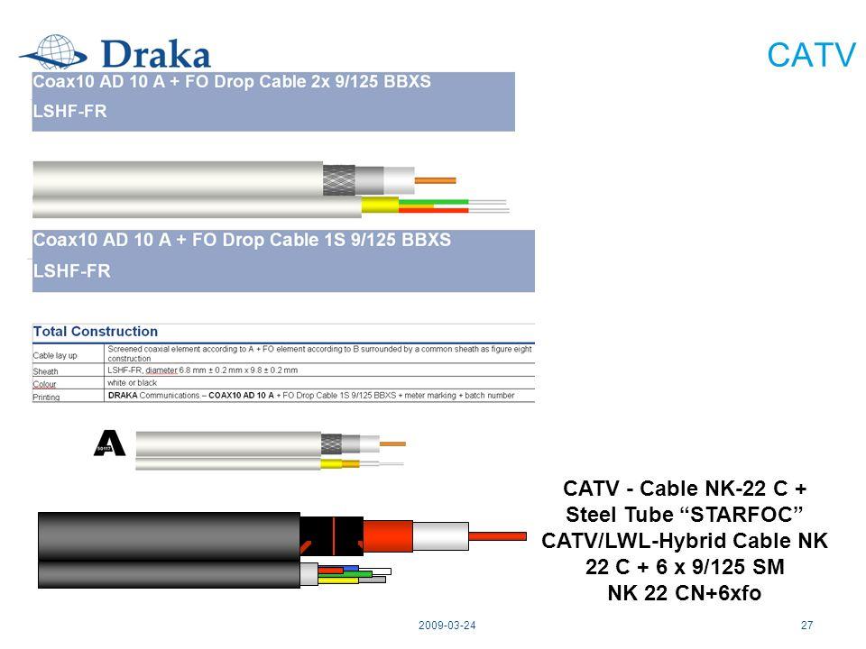 2009-03-2427 CATV CATV - Cable NK-22 C + Steel Tube STARFOC CATV/LWL-Hybrid Cable NK 22 C + 6 x 9/125 SM NK 22 CN+6xfo