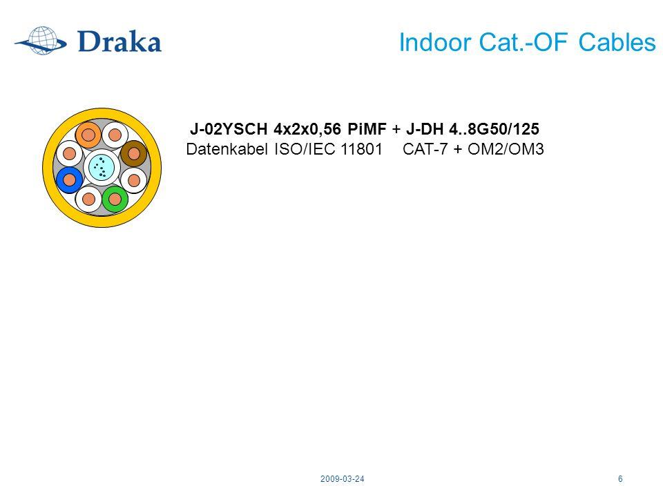 2009-03-246 Indoor Cat.-OF Cables J-02YSCH 4x2x0,56 PiMF + J-DH 4..8G50/125 Datenkabel ISO/IEC 11801 CAT-7 + OM2/OM3