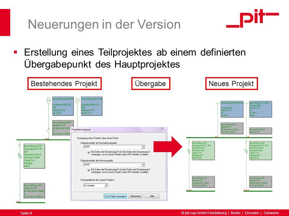 © pit-cup GmbH Heidelberg | Berlin | Dresden | Schwerin Seite 10 Neuerungen in der Version Verteiler Für USV Anlagen wird die Kurzschlussfestigkeit der Verbraucher berücksichtigt