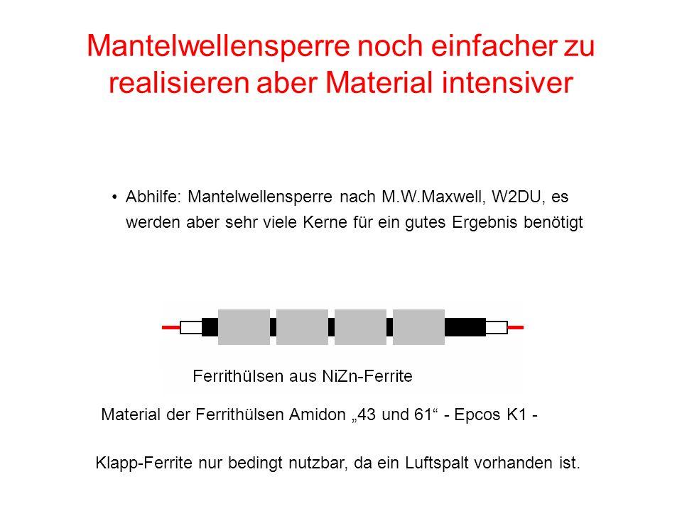 Mantelwellensperre noch einfacher zu realisieren aber Material intensiver Abhilfe: Mantelwellensperre nach M.W.Maxwell, W2DU, es werden aber sehr viel