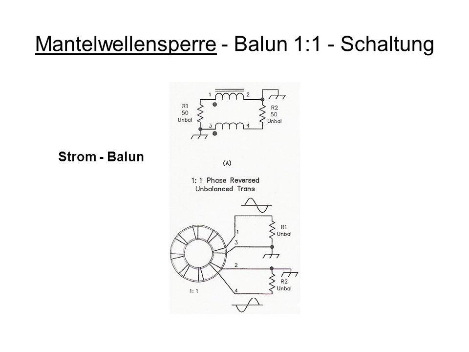 Mantelwellensperre - Balun 1:1 - Schaltung Strom - Balun