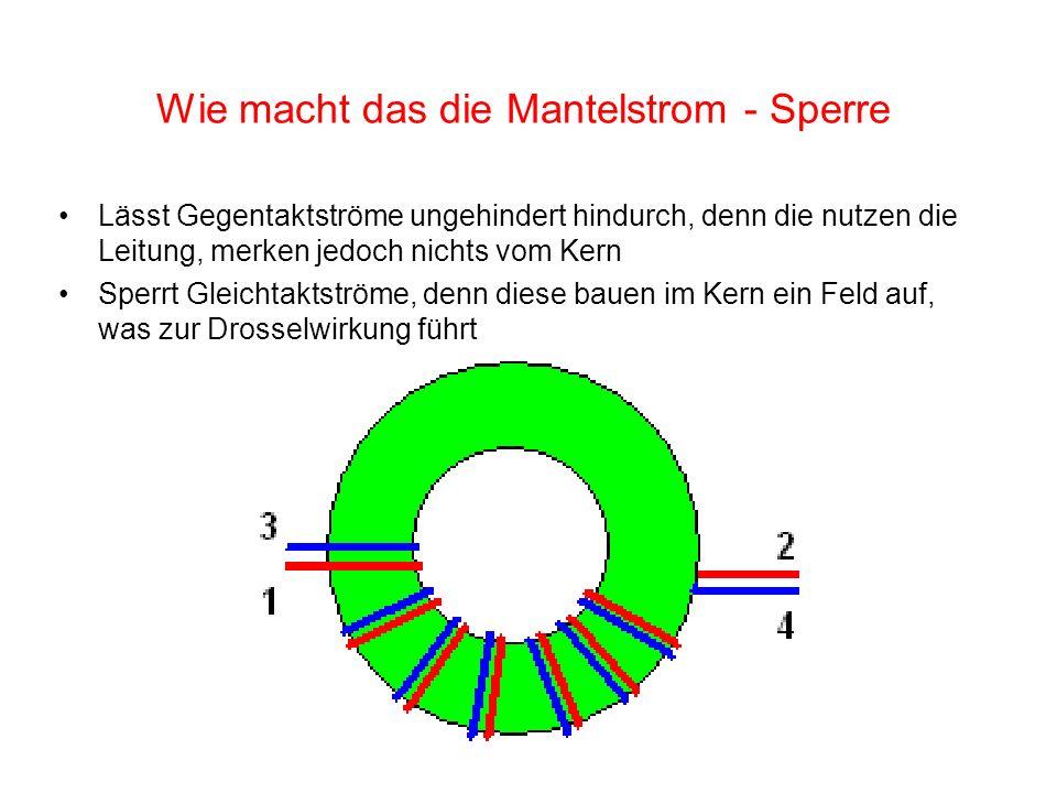 Wie macht das die Mantelstrom - Sperre Lässt Gegentaktströme ungehindert hindurch, denn die nutzen die Leitung, merken jedoch nichts vom Kern Sperrt G