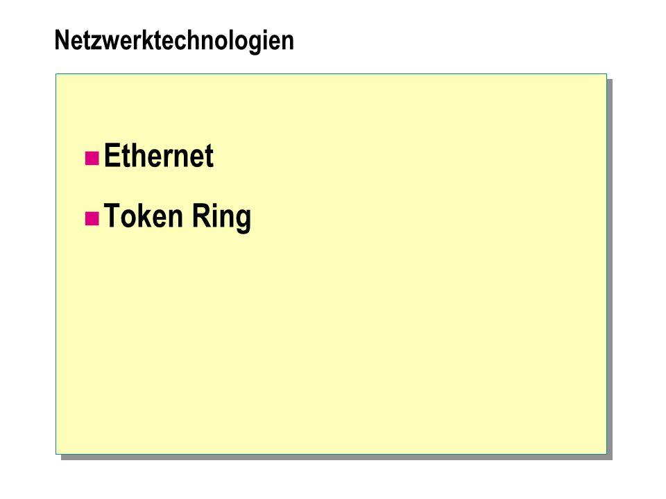 Netzwerktechnologien Ethernet Token Ring