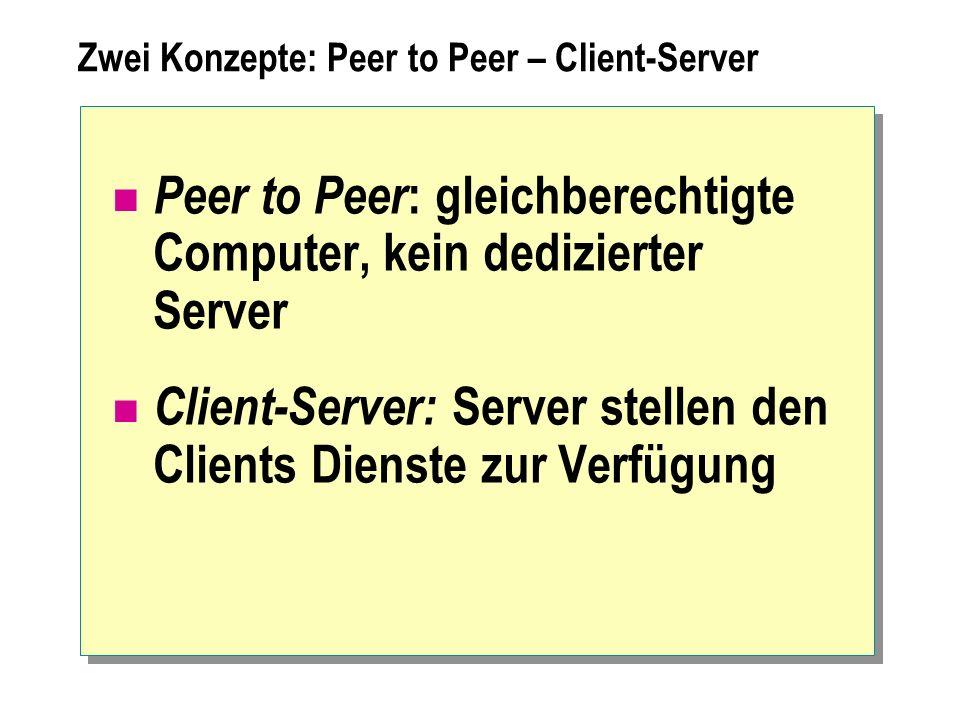 Zwei Konzepte: Peer to Peer – Client-Server Peer to Peer : gleichberechtigte Computer, kein dedizierter Server Client-Server: Server stellen den Clien