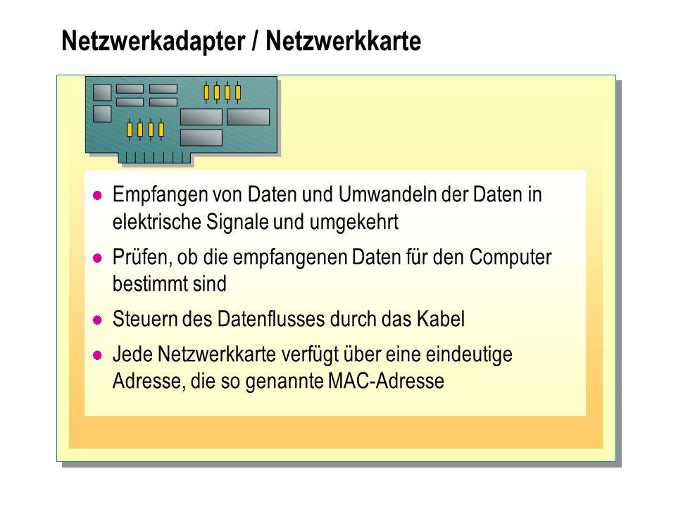 Netzwerkadapter / Netzwerkkarte Empfangen von Daten und Umwandeln der Daten in elektrische Signale und umgekehrt Prüfen, ob die empfangenen Daten für