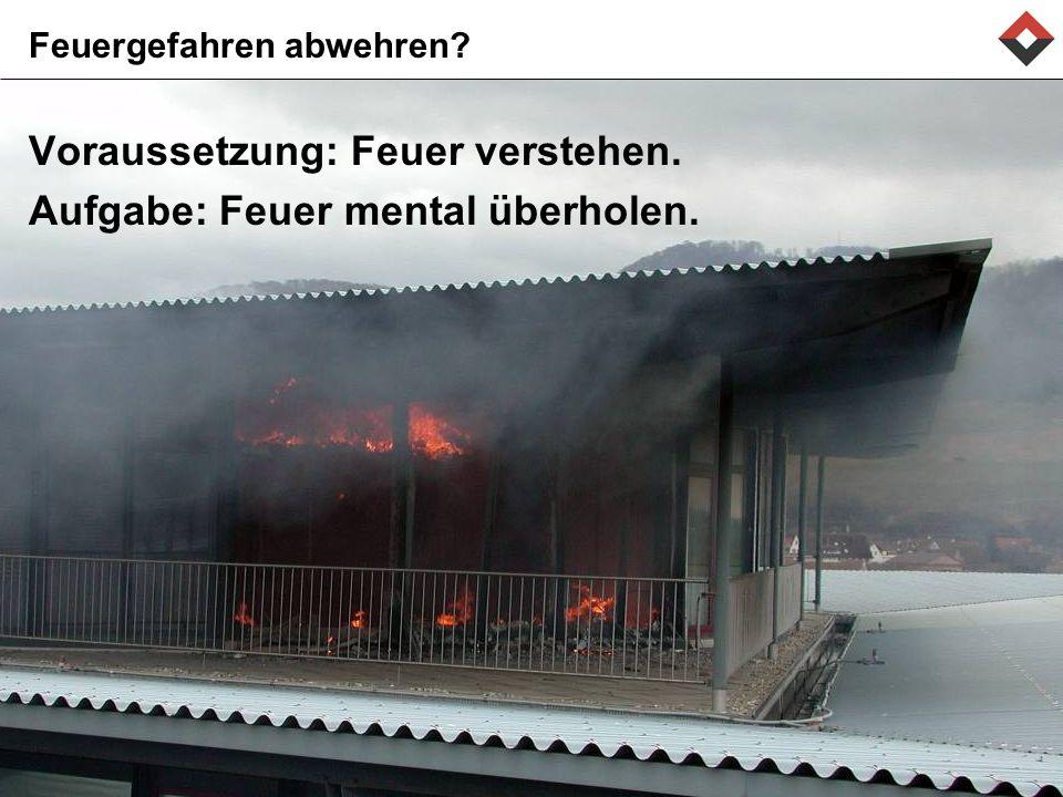 Feuergefahren abwehren? Voraussetzung: Feuer verstehen. Aufgabe: Feuer mental überholen.