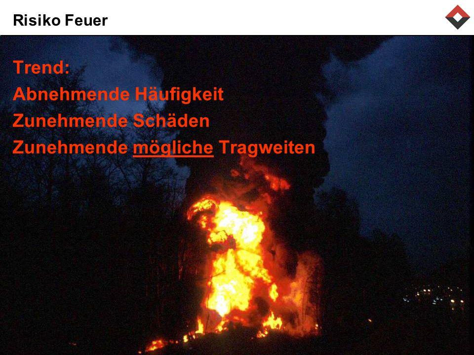 Risiko Feuer Trend: Abnehmende Häufigkeit Zunehmende Schäden Zunehmende mögliche Tragweiten
