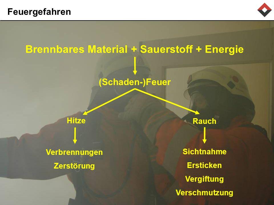 Feuergefahren Brennbares Material + Sauerstoff + Energie Rauch Sichtnahme Ersticken Vergiftung Verschmutzung (Schaden-)Feuer Hitze Verbrennungen Zerstörung