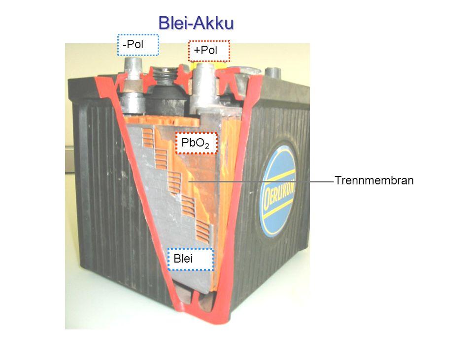 Blei-Akku Blei PbO 2 Trennmembran -Pol +Pol