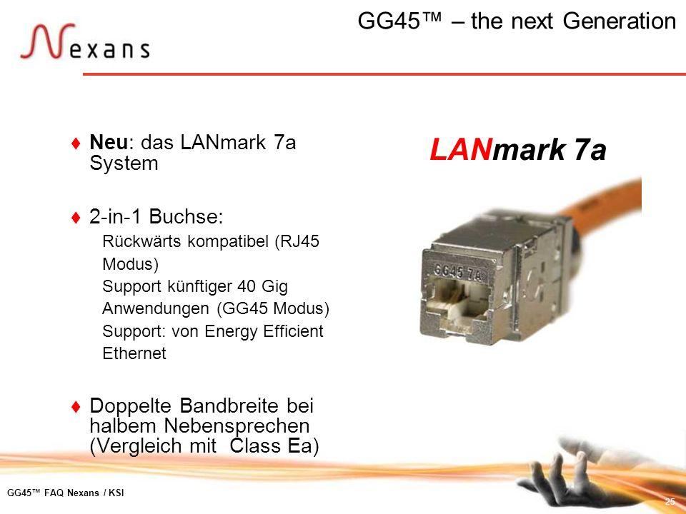 25 GG45 FAQ Nexans / KSI GG45 – the next Generation Neu: das LANmark 7a System 2-in-1 Buchse: Rückwärts kompatibel (RJ45 Modus) Support künftiger 40 G