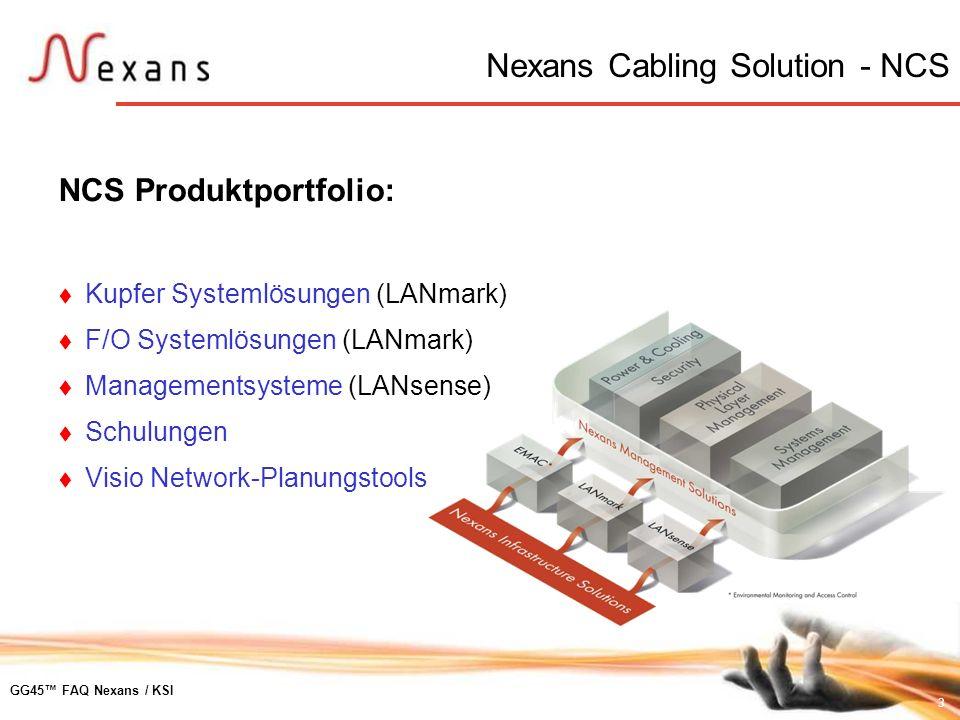 3 GG45 FAQ Nexans / KSI Nexans Cabling Solution - NCS NCS Produktportfolio: Kupfer Systemlösungen (LANmark) F/O Systemlösungen (LANmark) Managementsys