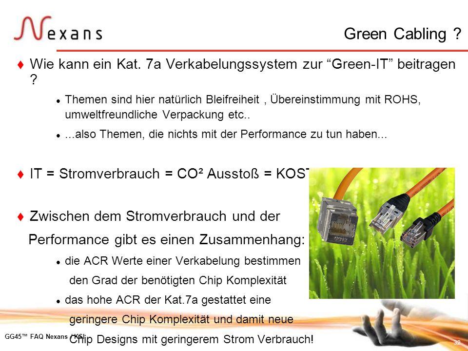 32 GG45 FAQ Nexans / KSI Wie kann ein Kat. 7a Verkabelungssystem zur Green-IT beitragen ? Themen sind hier natürlich Bleifreiheit, Übereinstimmung mit