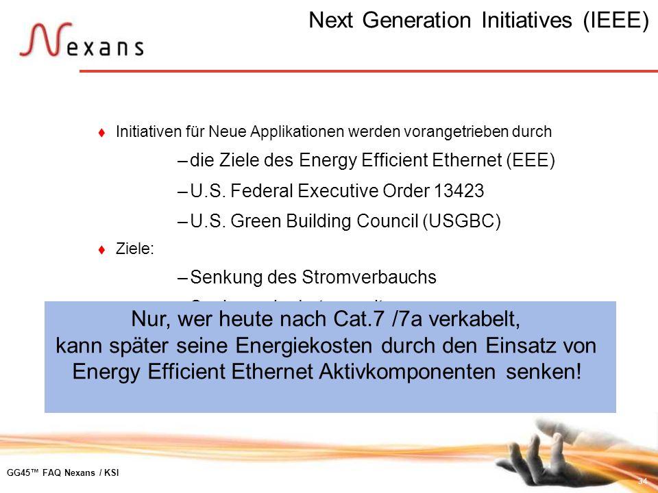 34 GG45 FAQ Nexans / KSI Next Generation Initiatives (IEEE) Initiativen für Neue Applikationen werden vorangetrieben durch –die Ziele des Energy Effic