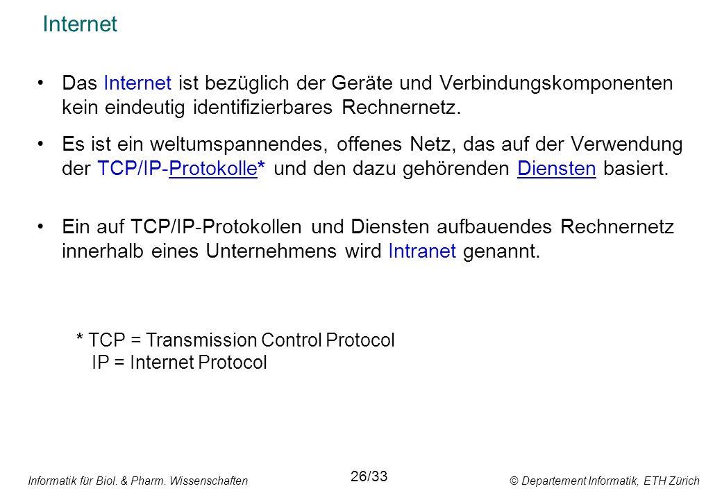 Informatik für Biol. & Pharm. Wissenschaften © Departement Informatik, ETH Zürich Internet Das Internet ist bezüglich der Geräte und Verbindungskompon