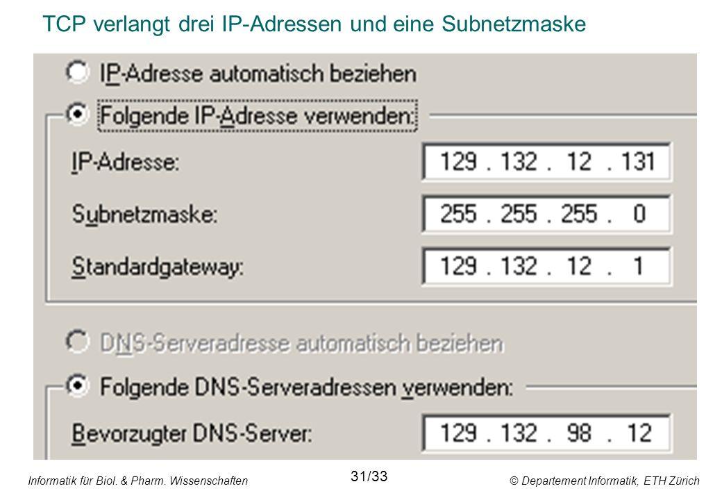 Informatik für Biol. & Pharm. Wissenschaften © Departement Informatik, ETH Zürich TCP verlangt drei IP-Adressen und eine Subnetzmaske 31/33