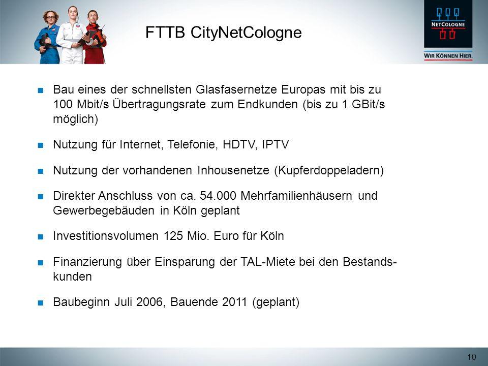 10 FTTB CityNetCologne Bau eines der schnellsten Glasfasernetze Europas mit bis zu 100 Mbit/s Übertragungsrate zum Endkunden (bis zu 1 GBit/s möglich)
