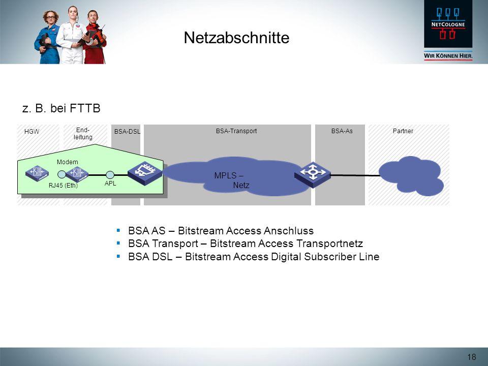 18 Netzabschnitte BSA AS – Bitstream Access Anschluss BSA Transport – Bitstream Access Transportnetz BSA DSL – Bitstream Access Digital Subscriber Lin