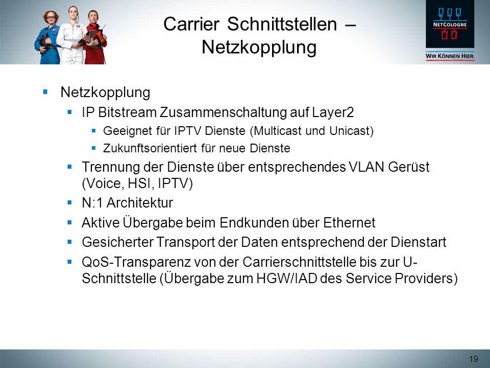 19 Carrier Schnittstellen – Netzkopplung Netzkopplung IP Bitstream Zusammenschaltung auf Layer2 Geeignet für IPTV Dienste (Multicast und Unicast) Zuku
