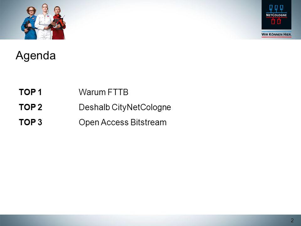 2 Agenda TOP 1 Warum FTTB TOP 2Deshalb CityNetCologne TOP 3Open Access Bitstream