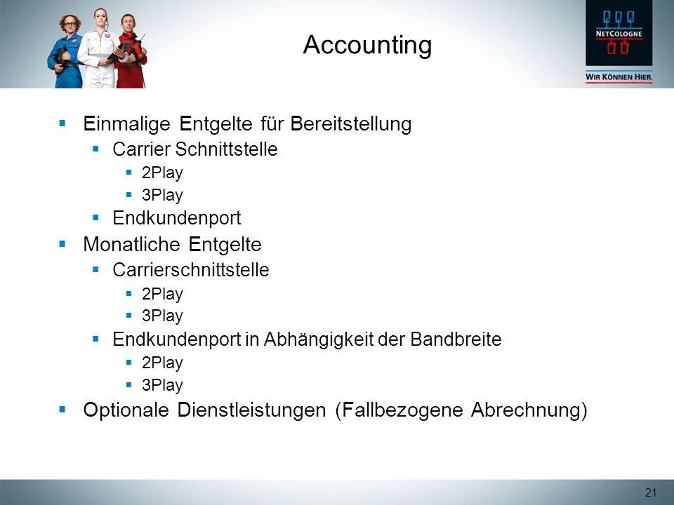 21 Accounting Einmalige Entgelte für Bereitstellung Carrier Schnittstelle 2Play 3Play Endkundenport Monatliche Entgelte Carrierschnittstelle 2Play 3Pl