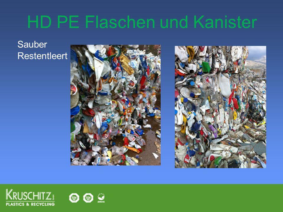 HD PE Flaschen und Kanister Sauber Restentleert