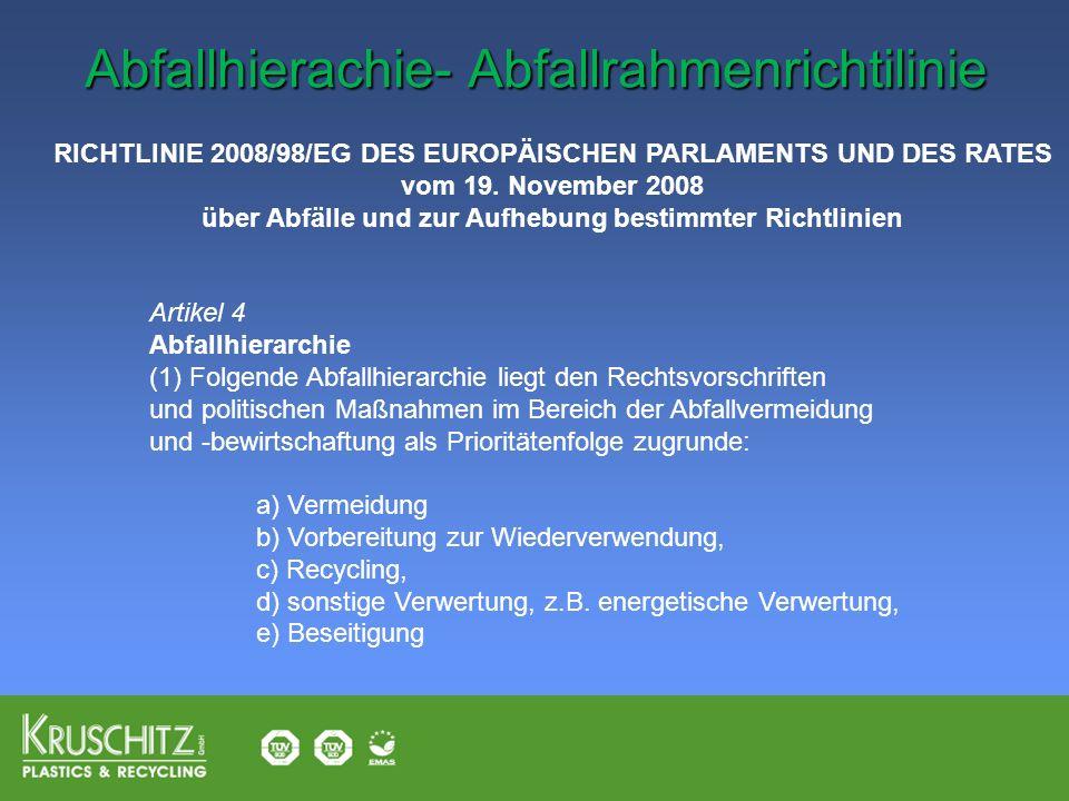 Artikel 4 Abfallhierarchie (1) Folgende Abfallhierarchie liegt den Rechtsvorschriften und politischen Maßnahmen im Bereich der Abfallvermeidung und -b