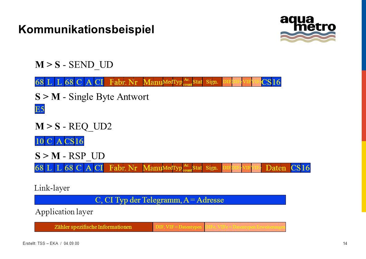 Erstellt: TSS – EKA / 04.09.0014 Kommunikationsbeispiel 68LL CACIFabr. Nr DIF CSManu Med Ac. count Sign.StatTyp 16 DIFeVIFVIFe 10CACS16 E5 68LL CACIFa