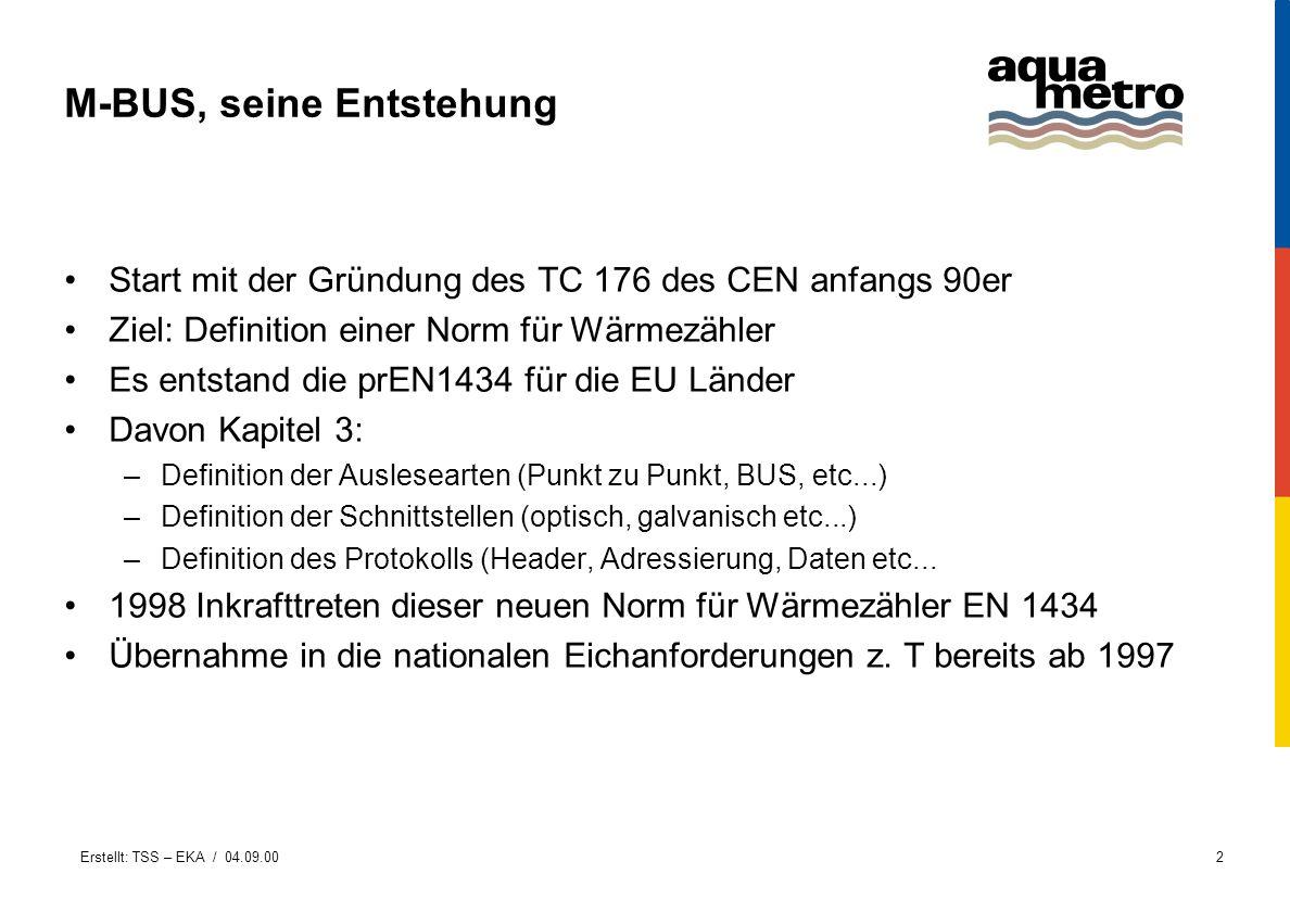 Erstellt: TSS – EKA / 04.09.002 M-BUS, seine Entstehung Start mit der Gründung des TC 176 des CEN anfangs 90er Ziel: Definition einer Norm für Wärmezä