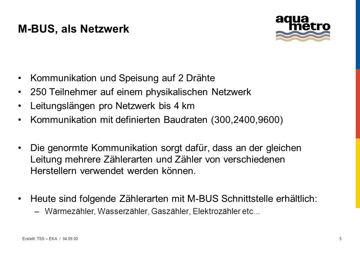 Erstellt: TSS – EKA / 04.09.005 M-BUS, als Netzwerk Kommunikation und Speisung auf 2 Drähte 250 Teilnehmer auf einem physikalischen Netzwerk Leitungsl