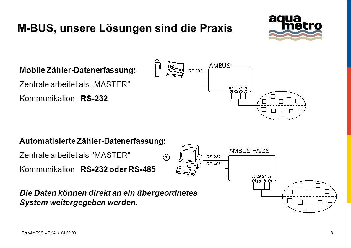 Erstellt: TSS – EKA / 04.09.008 M-BUS, unsere Lösungen sind die Praxis Automatisierte Zähler-Datenerfassung: Zentrale arbeitet als
