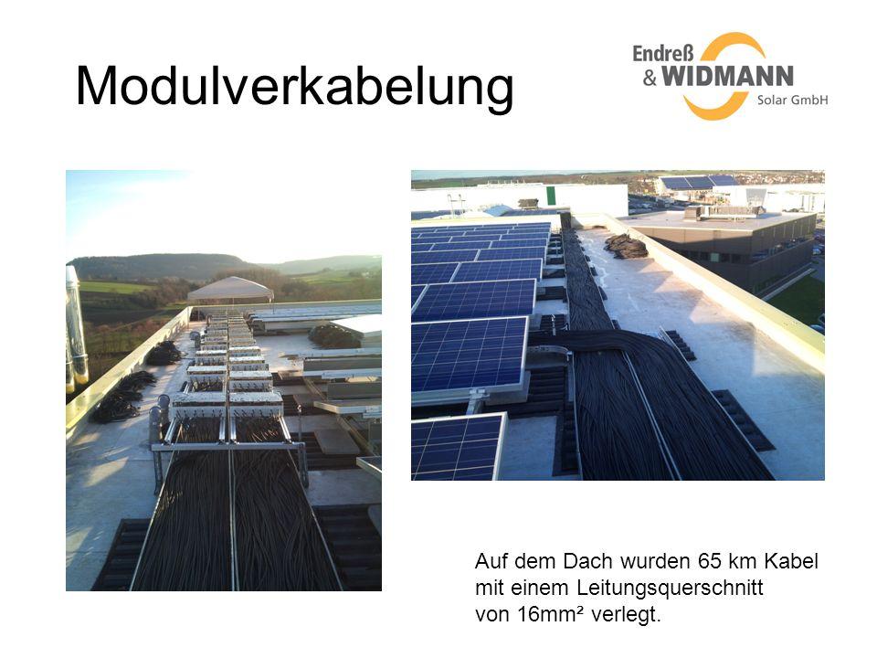 Modulverkabelung Auf dem Dach wurden 65 km Kabel mit einem Leitungsquerschnitt von 16mm² verlegt.