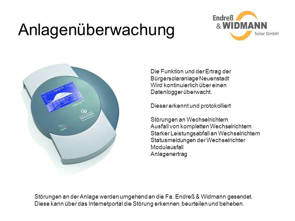 Anlagenüberwachung Die Funktion und der Ertrag der Bürgersolaranlage Neuenstadt Wird kontinuierlich über einen Datenlogger überwacht. Dieser erkennt u