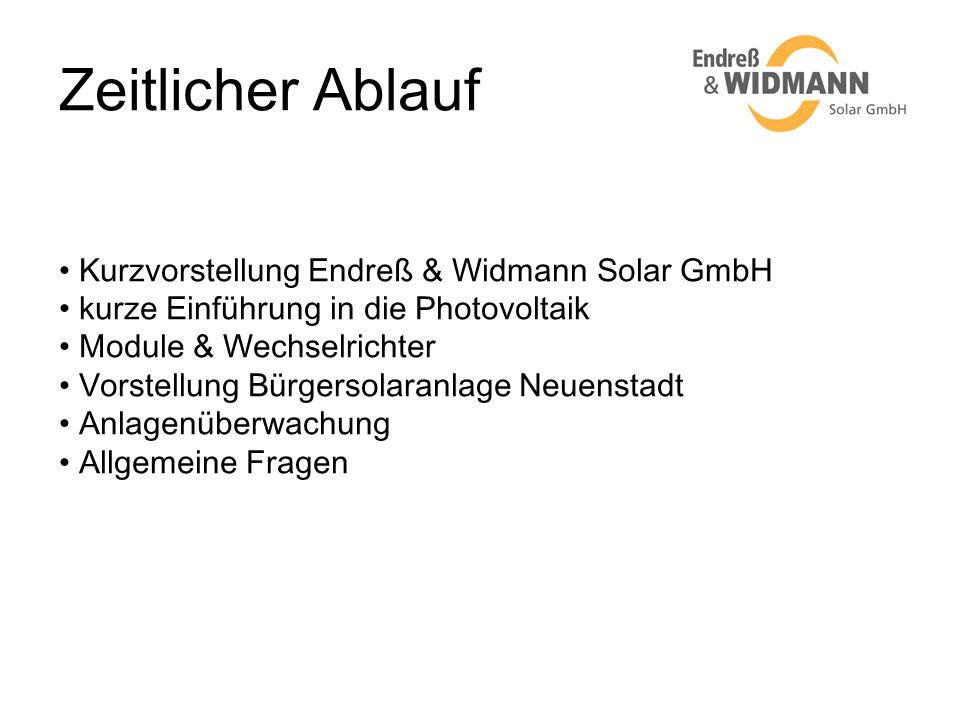 Zeitlicher Ablauf Kurzvorstellung Endreß & Widmann Solar GmbH kurze Einführung in die Photovoltaik Module & Wechselrichter Vorstellung Bürgersolaranla