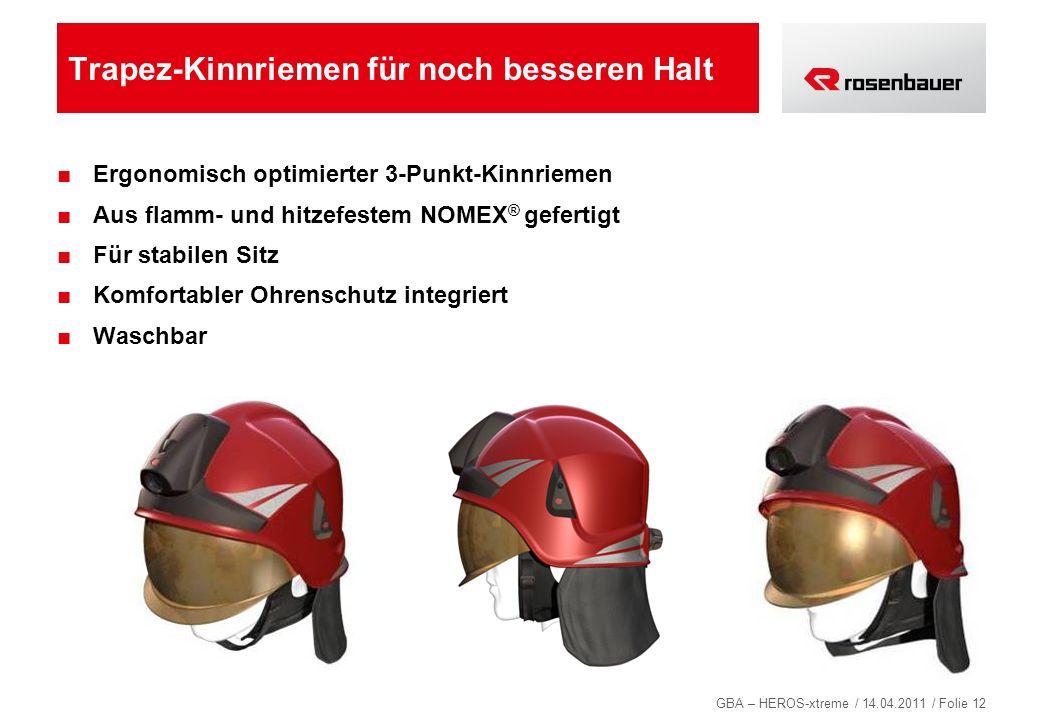 GBA – HEROS-xtreme / 14.04.2011 / Folie 12 Trapez-Kinnriemen für noch besseren Halt Ergonomisch optimierter 3-Punkt-Kinnriemen Aus flamm- und hitzefes