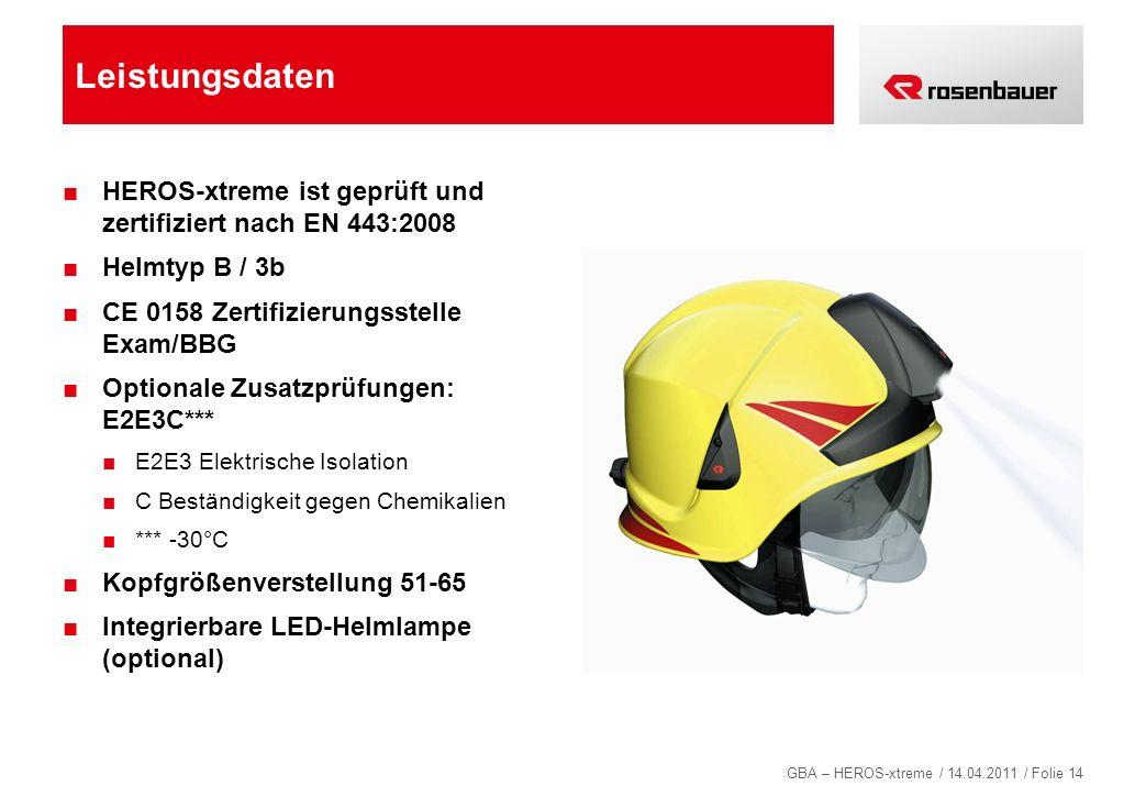 GBA – HEROS-xtreme / 14.04.2011 / Folie 14 Leistungsdaten HEROS-xtreme ist geprüft und zertifiziert nach EN 443:2008 Helmtyp B / 3b CE 0158 Zertifizie