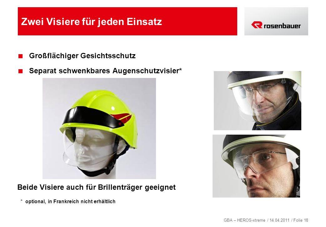 GBA – HEROS-xtreme / 14.04.2011 / Folie 18 Zwei Visiere für jeden Einsatz Großflächiger Gesichtsschutz Separat schwenkbares Augenschutzvisier* Beide V