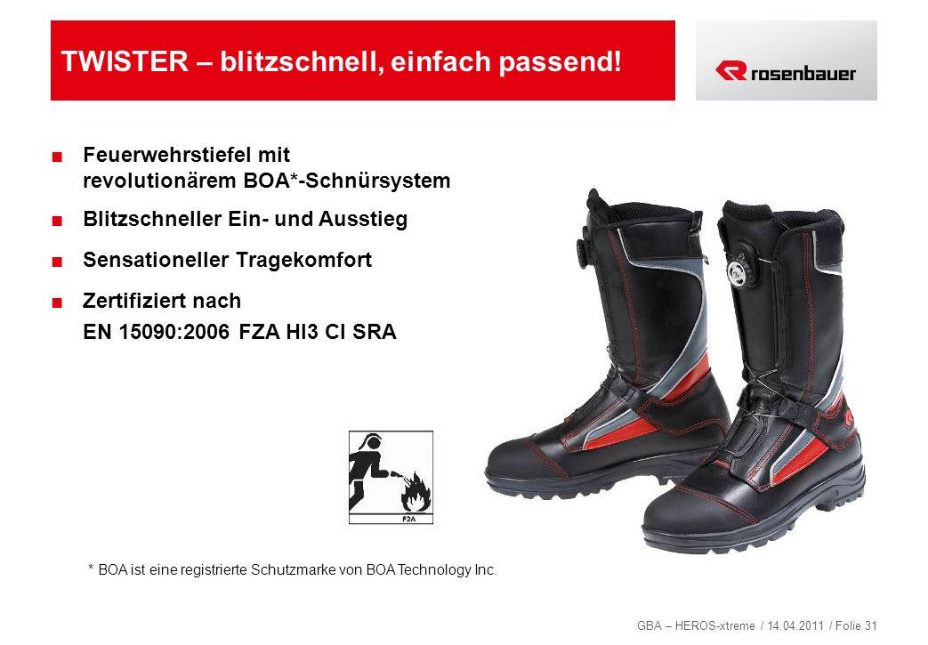 GBA – HEROS-xtreme / 14.04.2011 / Folie 31 TWISTER – blitzschnell, einfach passend! Feuerwehrstiefel mit revolutionärem BOA*-Schnürsystem Blitzschnell