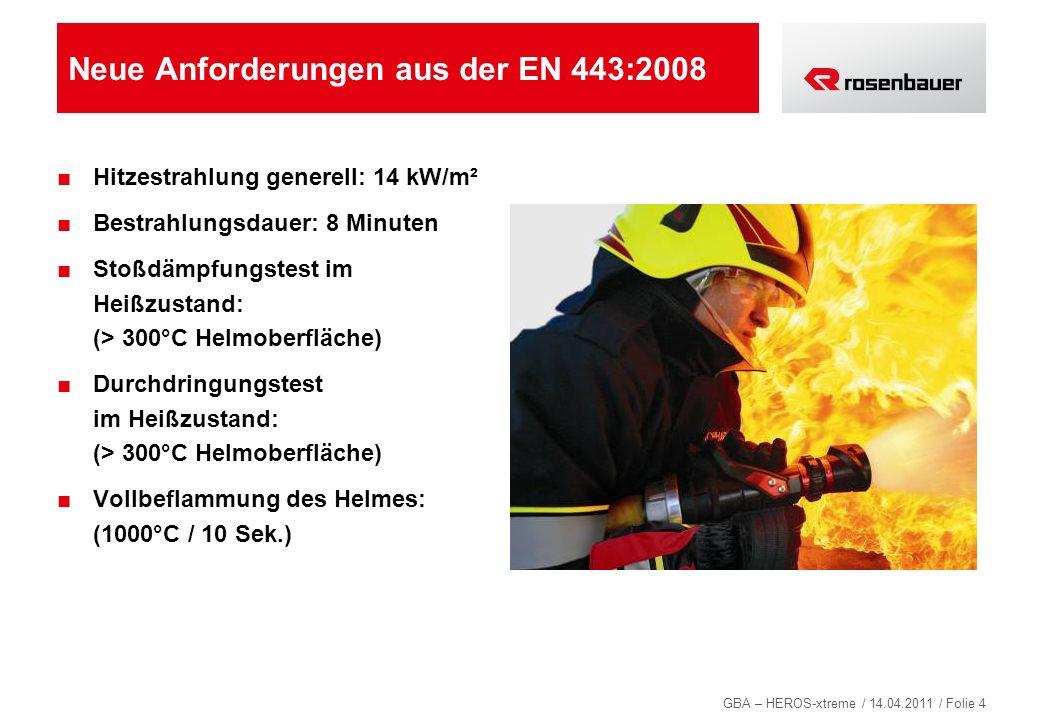 GBA – HEROS-xtreme / 14.04.2011 / Folie 4 Neue Anforderungen aus der EN 443:2008 Hitzestrahlung generell: 14 kW/m² Bestrahlungsdauer: 8 Minuten Stoßdä