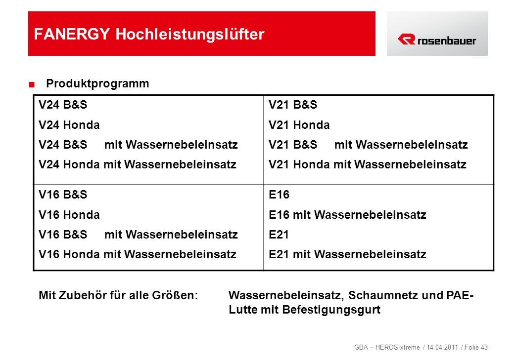 GBA – HEROS-xtreme / 14.04.2011 / Folie 43 FANERGY Hochleistungslüfter Produktprogramm V24 B&S V24 Honda V24 B&S mit Wassernebeleinsatz V24 Honda mit