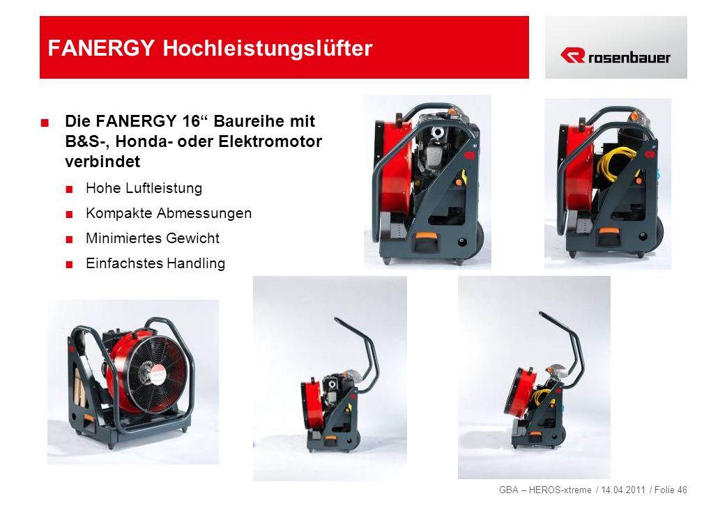 GBA – HEROS-xtreme / 14.04.2011 / Folie 46 FANERGY Hochleistungslüfter Die FANERGY 16 Baureihe mit B&S-, Honda- oder Elektromotor verbindet Hohe Luftl