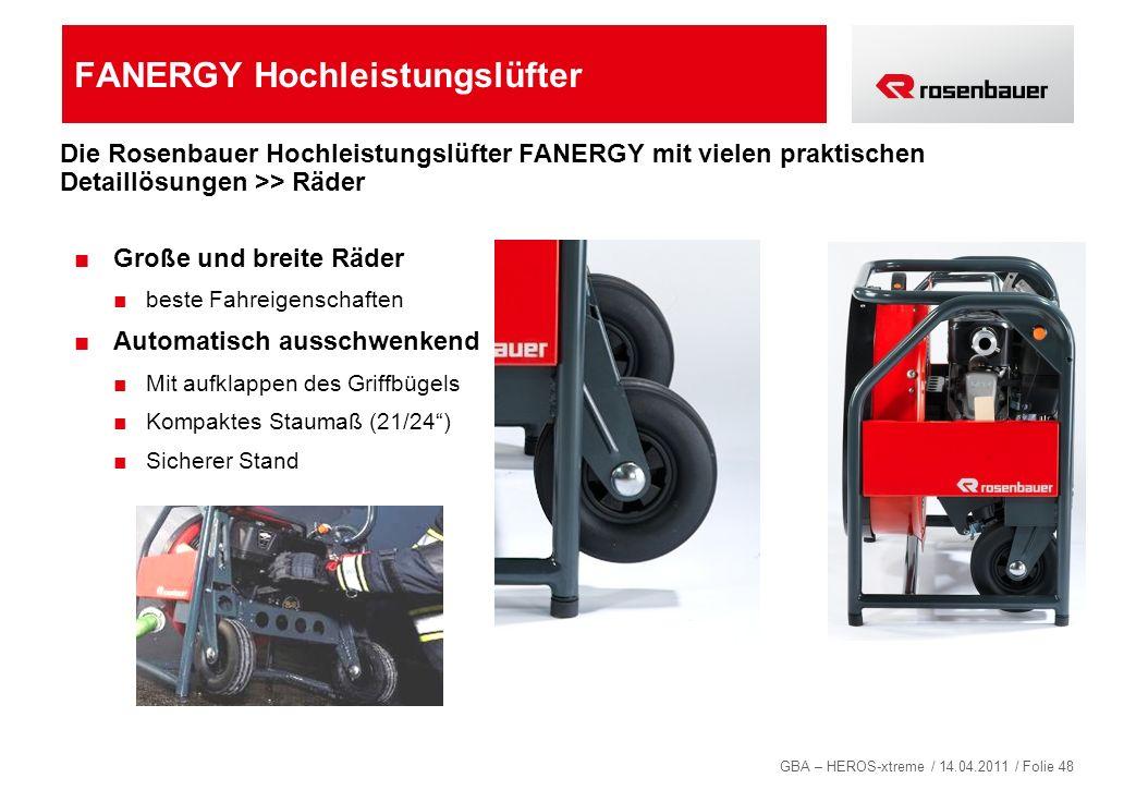 GBA – HEROS-xtreme / 14.04.2011 / Folie 48 FANERGY Hochleistungslüfter Große und breite Räder beste Fahreigenschaften Automatisch ausschwenkend Mit au
