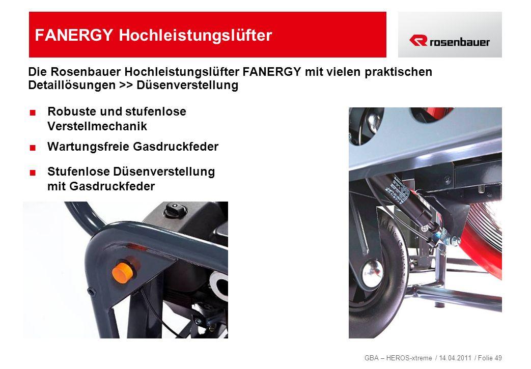 GBA – HEROS-xtreme / 14.04.2011 / Folie 49 FANERGY Hochleistungslüfter Robuste und stufenlose Verstellmechanik Wartungsfreie Gasdruckfeder Stufenlose