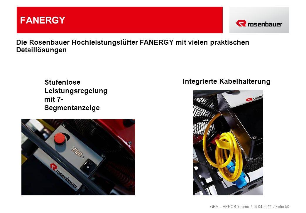 GBA – HEROS-xtreme / 14.04.2011 / Folie 50 FANERGY Stufenlose Leistungsregelung mit 7- Segmentanzeige Integrierte Kabelhalterung Die Rosenbauer Hochle