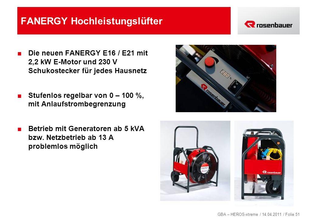 GBA – HEROS-xtreme / 14.04.2011 / Folie 51 FANERGY Hochleistungslüfter Die neuen FANERGY E16 / E21 mit 2,2 kW E-Motor und 230 V Schukostecker für jede