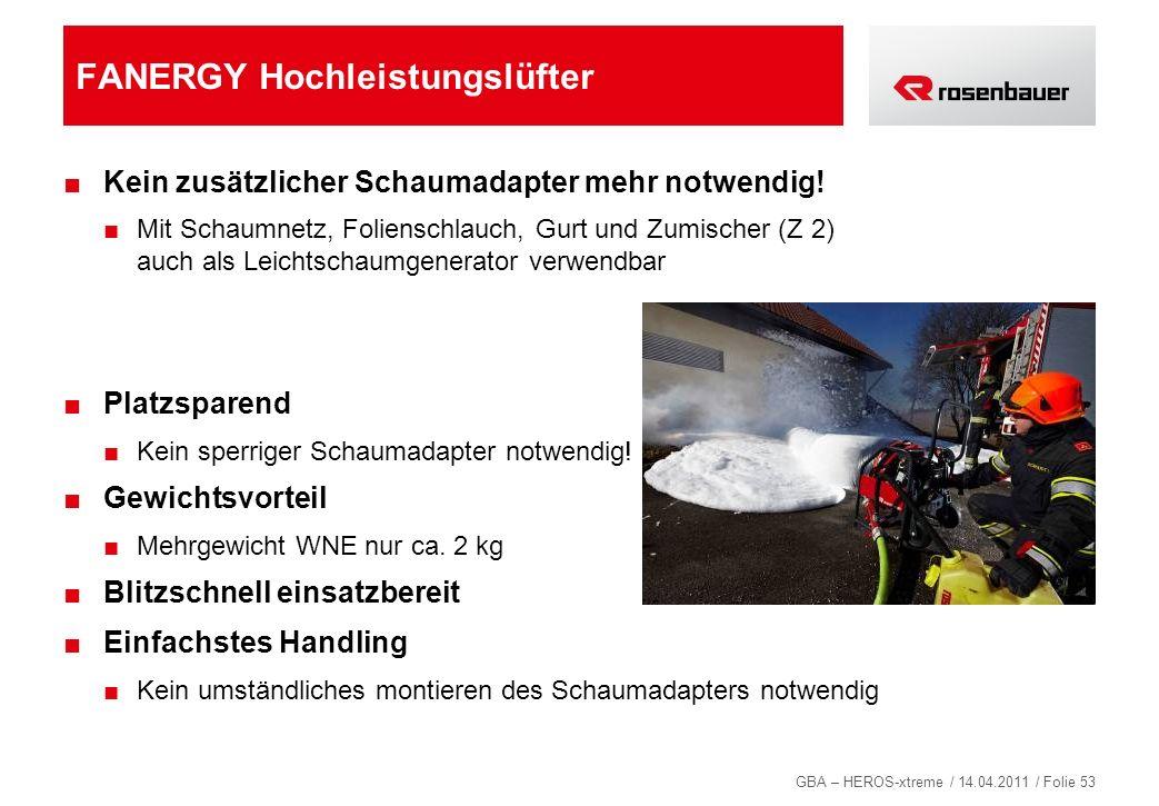 GBA – HEROS-xtreme / 14.04.2011 / Folie 53 FANERGY Hochleistungslüfter Kein zusätzlicher Schaumadapter mehr notwendig! Mit Schaumnetz, Folienschlauch,