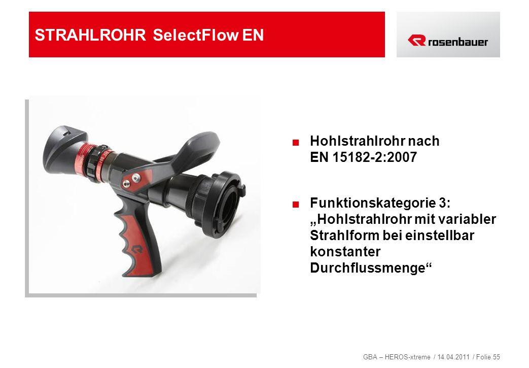 GBA – HEROS-xtreme / 14.04.2011 / Folie 55 STRAHLROHR SelectFlow EN Hohlstrahlrohr nach EN 15182-2:2007 Funktionskategorie 3: Hohlstrahlrohr mit varia