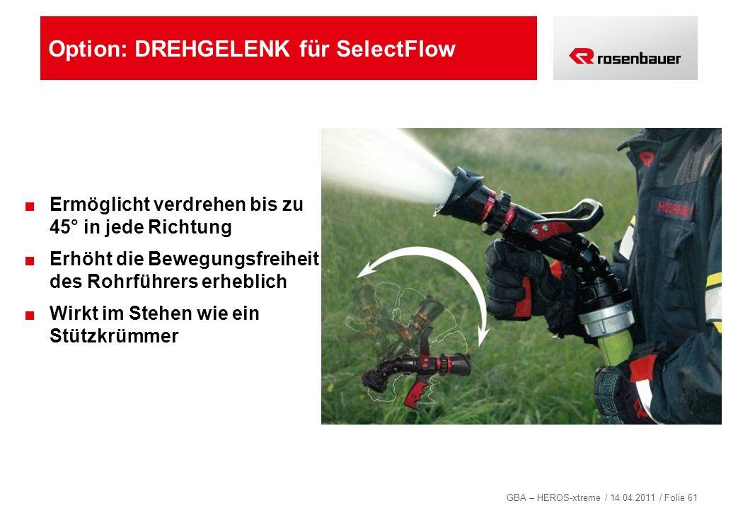 GBA – HEROS-xtreme / 14.04.2011 / Folie 61 Option: DREHGELENK für SelectFlow Ermöglicht verdrehen bis zu 45° in jede Richtung Erhöht die Bewegungsfrei