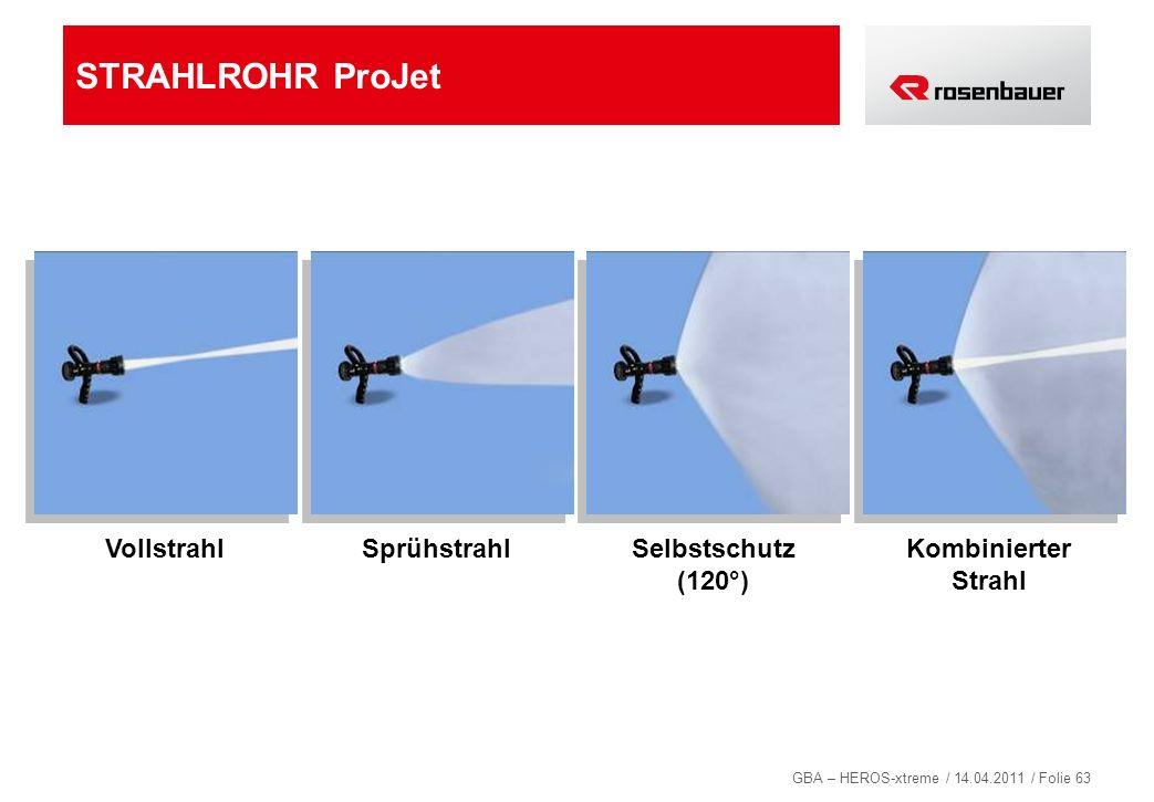 GBA – HEROS-xtreme / 14.04.2011 / Folie 63 STRAHLROHR ProJet VollstrahlSprühstrahlSelbstschutz (120°) Kombinierter Strahl